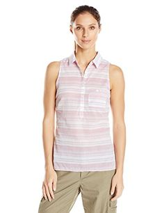 Columbia Womens Sun Drifter Sleeveless Shirt Large Haute Pink Stripe *** Learn more by visiting the image link.