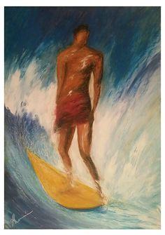 """Hang five"". Técnica mixta s/ madera. Tamaño 80x60 cm.  #acrylicpaintings #surfart #almonsurfart #seascapes #pontevedra #riasbaixas #seawaves #wavepaintings #olas #playas"