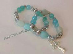 $35 plus shipping. Aqua Jade and Amazonite Set of two bracelets with a Pave Ankh charm.