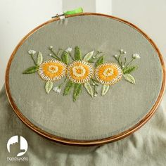 Let's start with the first stitch I learnt as a child, detached chain (also know as lazy daisy stitch). Each detached chain forms a petal...