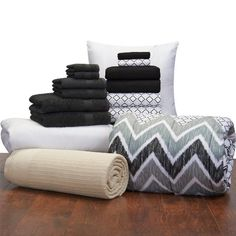 16 Piece Student Starter Pak - Twin XL College Dorm Bedding and Bath Set (Color: Black and Black Lennox)