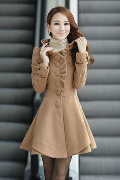 Fashion New Style O neck Long Sleeve single breasted Khaki Wool Long Coat