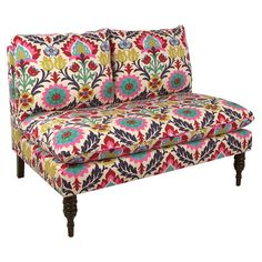 Add a touch of charm to your living room or den with this lovely settee, showcasing a suzani medallion motif and pine wood frame. Made in the USA.