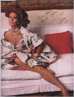 1975 - Sophia Loren wearing Nolan Miller's floral taffeta dress. Found the picture on a vintage site before pinning was an option. Thus, I can't recall exactly where I found it; It might have been Dorothea's Closet.