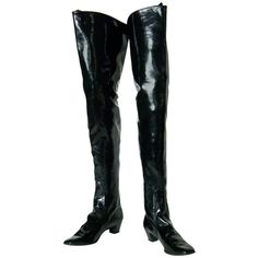 Pre-owned Beth Levine Thigh High Black Vinyl Boots ($650) ❤ liked on Polyvore featuring shoes, boots, black stretch over the knee boots, sexy black boots, stretch boots, thigh high boots と shiny black boots