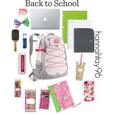 Back to School Supplies by hannahtay96 on Polyvore featuring мода, The North Face, Lilly Pulitzer, Aveda and Chapstick