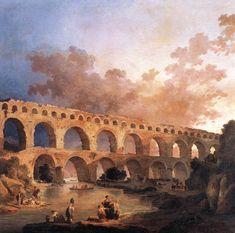 A Pont du Gard. 1787. Óleo sobre tela. Hubert Robert (Paris, França, 22/05/1733 - 15/04/1808, Paris, França) para o Rei Louis XVI. Encontra-se no Museu do Louvre, Paris, França.