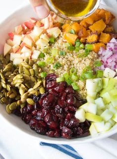 All the flavors of fall come together in an easy and refreshingly sweet Fall Quinoa Buddha Bowl that will satisfy everyone.  The concept of a Buddha Bowl is growing more and more popular and not just with hippy vegans.  So what is a Buddha Bowl exactly?  It is a large bowl packed