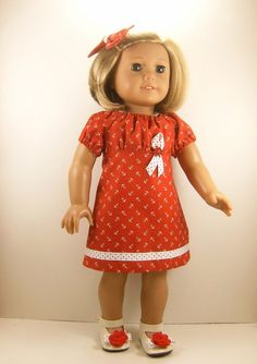 $26 Made For American Girl Doll Nautical Peasant Dress Red and White Anchor Print Matching Hair Bow