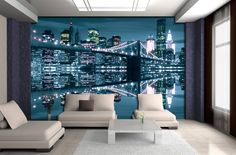 Brooklyn Bridge New York, Photo Mural, Photo Wallpaper, Wall Murals, Stickers, Canvas, Home Office Design, Design Offices, Murals