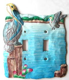 Switchplate Covers, Pelican Design Switch Plate, Hand Painted Metal - Light Switch Cover, Switch Plate Covers - by SwitchPlateDecor on Etsy Art Tropical, Tropical Wall Decor, Tropical Design, Tropical Birds, Decorative Light Switch Covers, Switch Plate Covers, Light Switch Plates, Painted Metal, Hand Painted