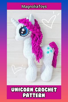 Unicorn (pony) crochet pattern is an 60 pages PDF pattern (with step by step photos) - Available in English. Size toy inch tall when made with the indicated or similar yarn. Crochet Pony, Crochet Eyes, Crochet Unicorn, Handmade Ideas, Handmade Toys, Handmade Crafts, Crochet Animal Patterns, Crochet Patterns Amigurumi, Crochet For Beginners