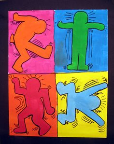 Drawing pop art can be accomplished through sharpies and markers. Good example of movement and expression, too. Keith Haring