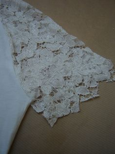 DIY lace on t-shirt. Maybe make it a bit longer so that it goes down to elbows?