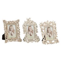 Display favorite photos in style with these elegant frames, featuring ornate scrolling frames in antiqued white finish.   Product: