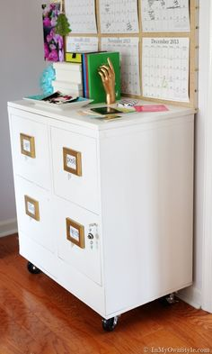 File-Cabinet-Makeover-using-DIY-chalk-paint and a platform with wheels for more move-ability!