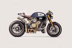 Cette sublime réalisation sur base de Panigale R est toute helvète, en effet, l'idée de transformer la sportive extrême de chez Ducati en Cafe Racer a germée dans la tête d'Andy Matter, PDG de Parts World.
