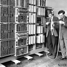 "The world's oldest computer, ""The Witch,"" was recently restored and turned back on in the UK. Here's a photo of some of the original scientists using it in the 1950's."