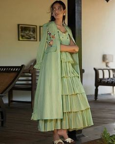 Choli dress - Buy Pista Green Hand Embroidered Cotton Mul Jacket Whatsapp us for more info and order on 8004838566 Indian Designer Outfits, Indian Outfits, Designer Dresses, Kurta Designs Women, Blouse Designs, Stylish Dresses, Fashion Dresses, Dresses Dresses, Cotton Dresses