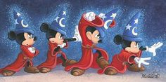 Fantasia - The Sorcerer's Spell - Mickey Mouse by Michelle St. Laurent presented by World Wide Art Fantasia Disney, Arte Disney, Disney Magic, Mickey Mouse And Friends, Mickey Minnie Mouse, Vintage Disney Posters, Disney Store, Mickey Love, Disney Fine Art