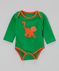 Take a look at this Green & Orange Monkey Organic Bodysuit - Infant by Tumblewalla on #zulily today!