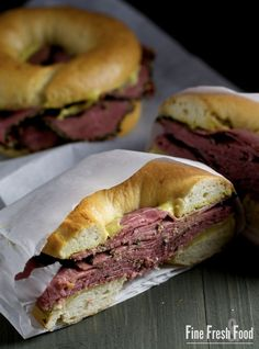 New York Style Pastrami Bagel  | Come to Bagels and Bites Cafe in Brighton, MI for all of your bagel and coffee needs! Feel free to call (810) 220-2333 or visit our website www.bagelsandbites.com for more information!