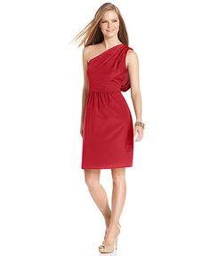 $107.99 Vince Camuto Dress, Sleeveless One-Shoulder Draped - Womens Bridesmaid Dresses - Macy's