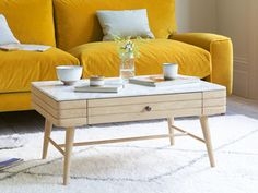 We reckon you could be looking at a family heirloom of the future with this marble top retro coffee table! Reclaimed Parquet Flooring, Retro Coffee Tables, Contemporary Coffee Table, Comfy Sofa, Marble Top, Sofas, Living Room, Bed, Interior