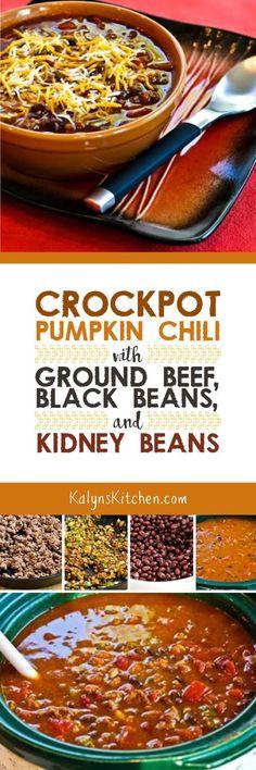 Crockpot Pumpkin Chili with Ground Beef, Black Beans, and Kidney Beans found on KalynsKitchen.com