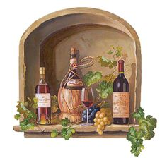 Wine Alcove With Grapes & Vines Bottles Red Wall Mural Sticker Decal Instant Distilled Beverage, Windows Wallpaper, Most Beautiful Wallpaper, Photo Images, Wine Decor, Wine Art, Red Walls, Faux Walls, Fruit Art