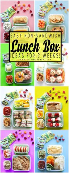 2 Whole weeks of Non-Sandwich - Easy to make - Super fun - Healthy Lunch Box… Lunch Box Bento, Non Sandwich Lunches, Easy Lunch Boxes, Lunch Snacks, Lunch Box Meals, Healthy Lunch Boxes, Kid Snacks, Healthy School Snacks, Kids Lunch For School