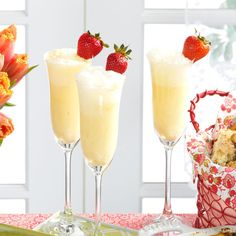 """Creamsicle Mimosa Recipe -Toast Mom at a Mother's Day brunch with this """"grown up"""" creamsicle beverage. For the kiddos, make a non-alcoholic version with non-alcoholic sparkling wine, sparkling cider, or ginger ale. —Deirdre Cox, Kansas City, Missouri"""