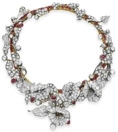 An Antique Diamond and Ruby Necklace, 1880