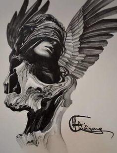 Skull Woman Wings