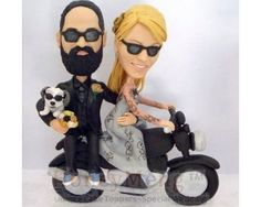 Bride is ridingMotorcycle wedding cake toppers cool head to toe personalized made from Cool Headed, Personalized Wedding Cake Toppers, Wedding Groom, Head To Toe, Grooms, Wedding Cakes, Wedding Planning, Trending Outfits, Explore