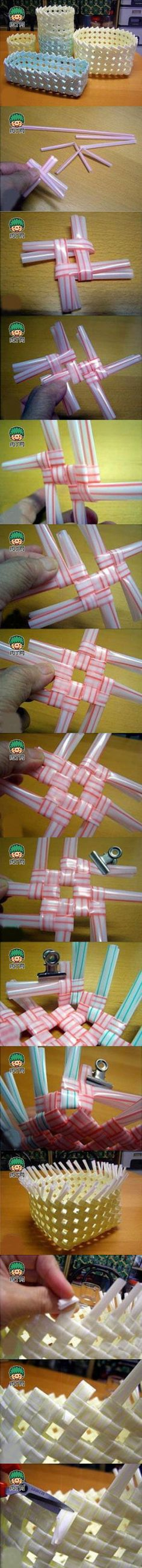 Practice tutorials plastic straws woven straw basket container production