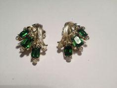 KRAMER OF NEW YORK Emerald Cut and color RHINESTONE EARRINGS **VINTAGE*** #KRAMER #Cluster