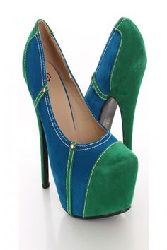 Blue Green Faux Suede Colorblock Strappy Ankle Strap Platform ...