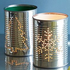 Tin Can Votives - Paint the inside of tin cans in holiday colors. Let dry, then stencil a dotted design on the outside in marker. Lay can on its side, placing a stack of heavy books at both ends to keep it steady. Hammer a nail through dots to make holes. Add a lit candle to let light glow through.