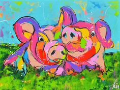 Vrolijk varkens schilderij op doek, titel: ' biggen liefde' kunstwerk vervaardigd door: Liz