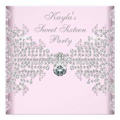 Silver Diamonds Pink Sweet 16 Birthday Party Custom Invitations