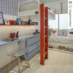 """#Repost @bloghomeidea ・・・ Para os Super-heróis... Como um """"quartinho"""" deste iria fazer sucesso aqui em casa!!! 😍🔝 Eu amei e meus filhos também iriam amar!  Projeto @izabelalessa_arquitetura  Venha para o nosso Snap: 👻 hi.homeidea  #bloghomeidea #olioliteam #arquitetura #ambiente #archdecor #archdesign #cozinha #kitchen #arquiteturadeinteriores #home #homedecor #style #homedesign #instadecor #interiordesign #designdecor #decordesign #decoracao #decoration #love #instagood…"""