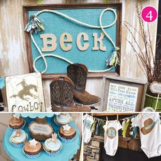 cowboy-baby-shower. and you could use the sign with the name to hang up in the baby's room. future