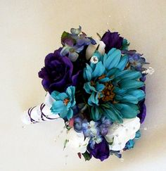 Teal and purple wedding bouquet by Amore Bride on etsy.