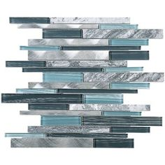 Shop for TileGen. Slender Random Sized Mixed Material Tile in Blue/Gray Wall Tile Get free delivery On EVERYTHING* Overstock - Your Online Home Improvement Shop! Get in rewards with Club O! Stone Mosaic Tile, Mosaic Wall, Mosaic Glass, Marble Mosaic, Grey Wall Tiles, Grey Backsplash, Kitchen Backsplash, Backsplash Ideas, Adhesive Backsplash