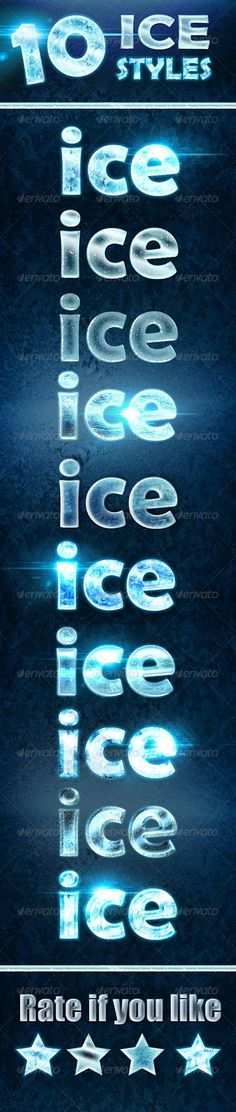 10 Ice and Frozen Effects #GraphicRiver This a set of one-click 10 ice and frozen layer styles for texts, shapes and raster.. for better results use on dark background.