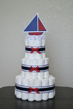 Nautical Diaper Cake Sail Boat Baby Shower by HeavinlyCreations, $45.00