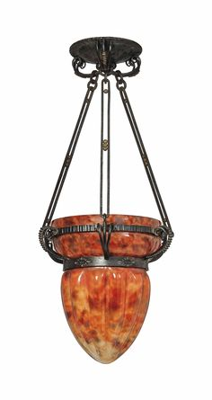 A DAUM AND LOUIS MAJORELLE (1859-1926) GLASS AND  WROUGHT-IRON HANGING SHADE CIRCA 1924