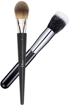 "If brushes are your preferred foundation tool, make sure you choose one designed for the specific finish you're looking for. Try Dior's flat ""cat's-tongue"" design if you like to layer and build your coverage. Chanel's duo fiber brush has a lighter touch. Use it to dot and then buff makeup all over your face—the result will be translucent yet polished. Dior Light Coverage Fluid Brush, $45, sephora.com; Chanel Blending Foundation Brush No. 7, $54, nordstrom.com."