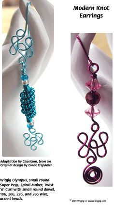 Modern Knots Wire Beads Earrings made with WigJig jewelry making tools and jewelry supplies.